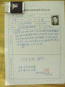 手札[1-11-52]: 中国书协常务理事 北京卫戍区原副司令 北京书协副主席 张西帆 登记表之一*带照片*钤印