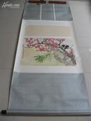A25沪上著名花鸟画家 施伯云 精品力作 好画意 白头偕老  立轴 精裱 画心46X68厘