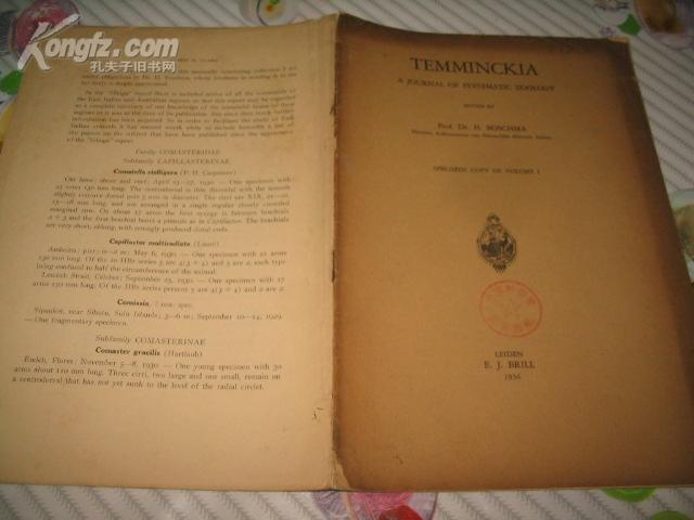 TEMMINCKIA A JOURNAL OF SYSTEMATIC ZOOLOGY SPECIMEN COPY OF VOLUME I  系統的動物學標本冊[1936年英文原版 道林紙本]
