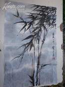 宣纸画《俞才良  竹画》69x46公分:拜著名画家申石伽先生为师,专功山水画和写竹