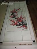 花鸟画<<一树寒梅雪后红>>  梁新云画,尺寸155*56厘米