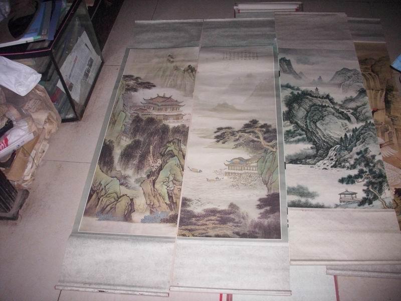 1990年1版1印《山水人物画》中堂3条。成品样张。没有发行量。