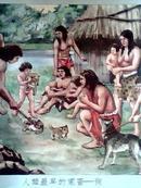 社会发展史挂图:原始社会【全套12张全、57\\58年刘旦宅等名家彩图绘画印刷、请看图】