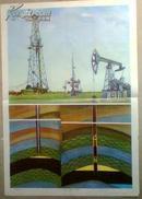 教学挂图-石油的开采,井架采油树磕头机,小学自然常识第四册