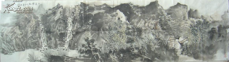 著名山水画家王本杰山水画长卷 保真