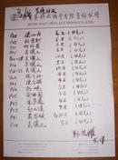 北京荣宝斋著名书画鉴赏家古砚研究专家韩度权记录书画作价格一张