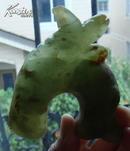 龙山文化玉器高古玉老玉旧玉器:双龙首形器(罕见器型)红沁色手把件 【龙一个小角处有裂】