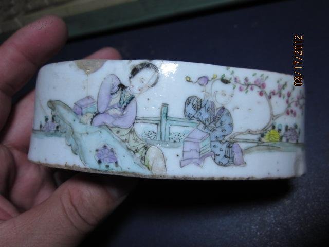 同治时期船形胭脂盒,名家傅义祥造,傅子卿绘教子图,包真包老