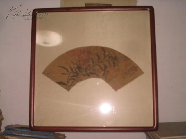 甲辰(光绪30年)三月 李澄浠 绘扇面 边长17厘米       中横长41.5厘米[绢本 有残 重木框装裱]