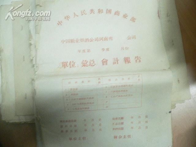 1975年河南省焦作市食品公司全年报表  ( 1-12月都有)