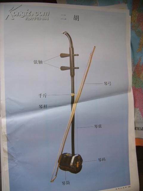 初中音乐教学挂图(乐器图1):二胡(尺寸:75x52厘米)