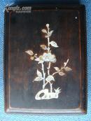 老砚台手工雕仙鹤祥云图(带合)合镶海贝花图.尺寸:220/160
