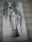 中国著名画家 阎真 绘 写意画 无落款 金钗 仕女图