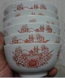 春节特价中国景德镇制手绘文革碗6个一套包老拖拉机耕地葵花图稀少