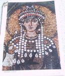 蒂奥多拉皇后像(意大利镶嵌画局部)初中课本 历代美术作品欣赏 4开 81年1版