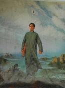 文革《毛主席去安源》大幅彩画一张(印刷品)【白边被折着了,又水渍,详见描述】