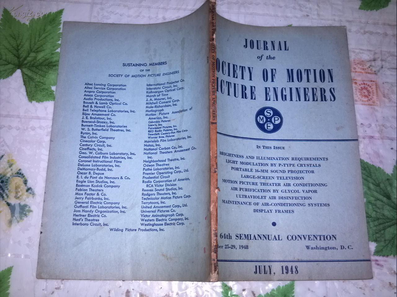JOURNAL OF THE SOCIETY OF MOTION PICTURE ENGINEERS  JULY,  1948電影工程師協會雜志1948年7月號
