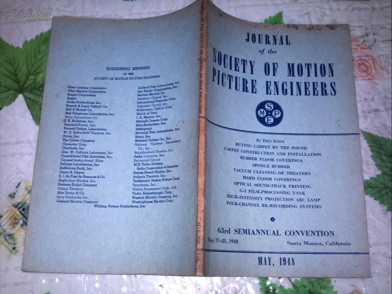 JOURNAL OF THE SOCIETY OF MOTION PICTURE ENGINEERS  MAY, 1948電影工程師協會雜志1948年5月號