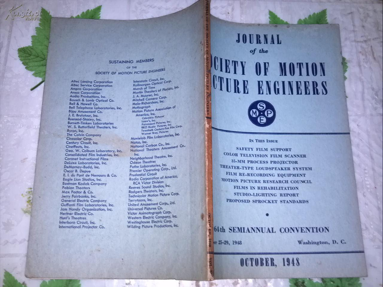 JOURNAL OF THE SOCIETY OF MOTION PICTURE ENGINEERS  OCTOBER, 1948電影工程師協會雜志1948年10月號