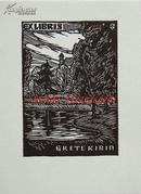 """奥地利版画家""""Otto Feil """"木板藏书票—《公园的树林》"""