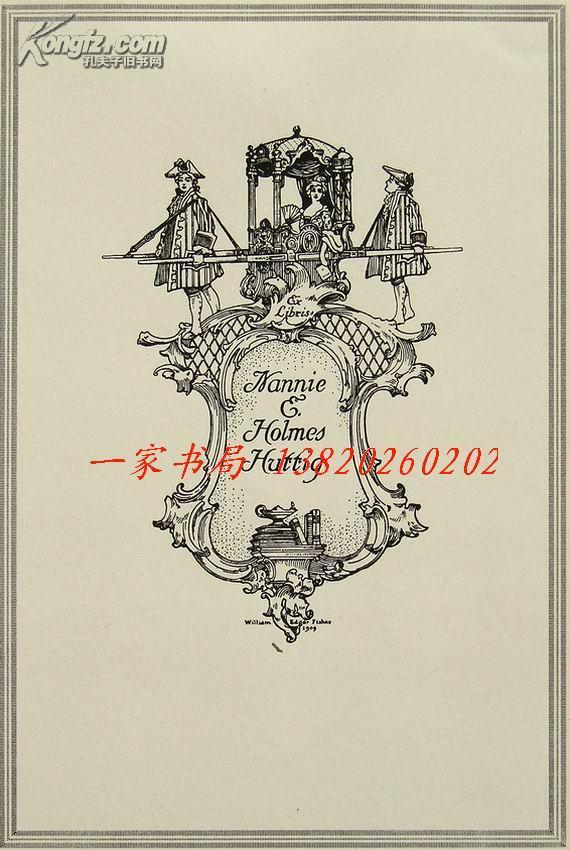"""美国藏书票黄金时期设计大师.""""William Edgar Fisher(1872-1956)""""线刻仕女藏书票—《轿中的女人》1909"""