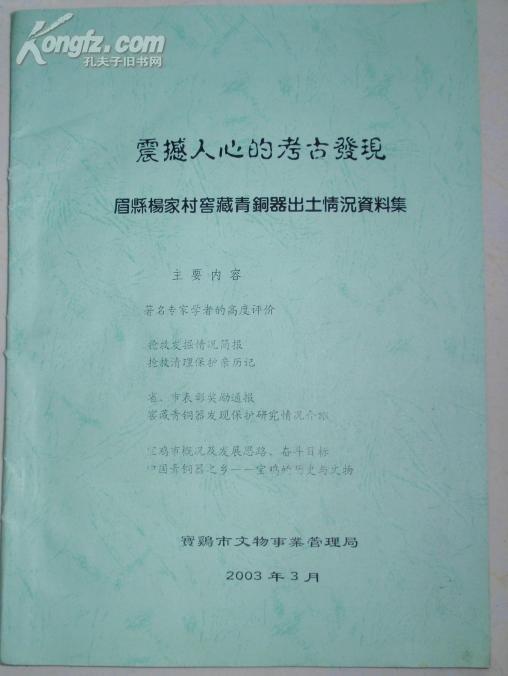 震撼人心的考古发现:眉县杨家村窖藏青铜器出土情况资料集