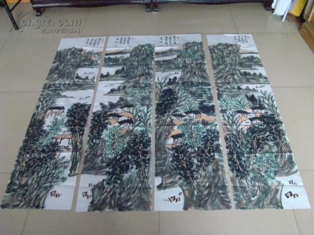中国美协会员、选第八、九届全国美展晁海山水画四条屏 保真