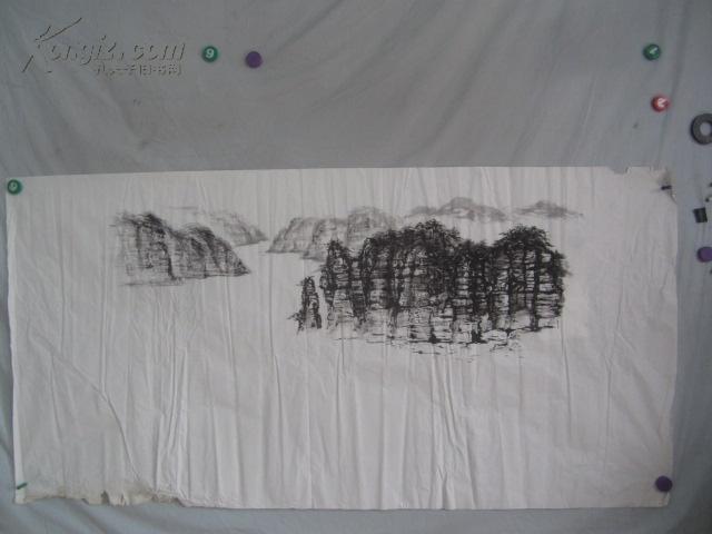 山水   国画一张   69*35厘米