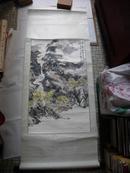 23004  香港画家《梁培坚》一张山水画  长143宽58