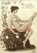 """德国艺术家""""Robert Langbein (1864-1932) """"蚀刻人体藏书票——《阅读的裸女与画夹前的田鼠》1917"""