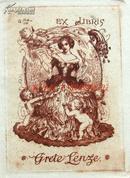 """""""德国20世纪初期著名艺术家""""(Hans VOLKERT)蚀刻早期藏书票——《淑女与天使》 1920"""