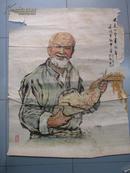 一开文革期间画在宣纸上的宣传画原稿   《又是一个丰收年》