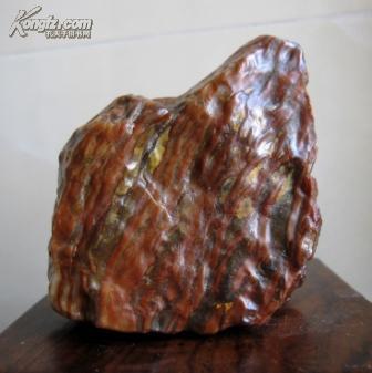 天然奇石观赏石造型石案头石戈壁石玛瑙石红碧玉摆件:多筋酱牛肉