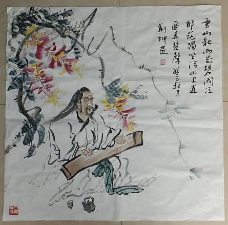 威海美术家协会副秘书长 刘坤 绘  高士抚琴图   69×68厘米