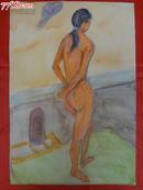 老水彩画原作一幅-裸女图,色彩艳丽,37×25.5cm