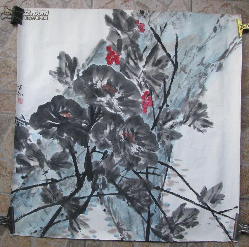 中央美术学院教授苏百钧花卉一幅,尺寸68*68cm   保真