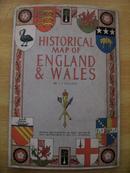 1971年彩色印刷《英国及威尔士地图》一大张——色彩靓丽