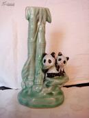 文革瓷器雕塑瓷:熊猫台灯座