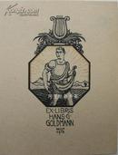 德国早期套色石版画藏书票田间播种的男子