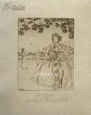 德国早期酸刻铜版画藏书票花园里读书的仕女书票精品