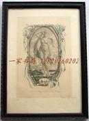 """德国艺术家"""" Hanns Bastanier(1885-c.1966)""""套色蚀刻藏书票—《维纳斯的诞生》 1913  签名 原画框"""