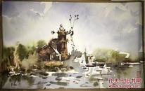 B8  董克诚水彩画作品一幅《伏尔加河边》