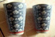 日本产和田烧   精美青花瓷啤酒杯一对
