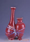 瓷器清乾隆均红窑变美人带子瓶