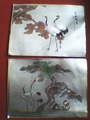金箔画《松龄鹤寿》(一组2幅,其尺寸大小为23x17厘米)