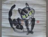 """上世纪八十年代前后紫砂艺术大师朱可心""""猫""""彩墨画"""