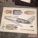 老版教学挂图 空气喷气发动机 超大开1开全开1957年印数6000色彩漂亮
