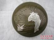 古玩铜器白铜文房用品墨盒印泥盒、辛勤劳作