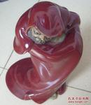 石湾窑红釉达摩塑像