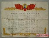 益阳市一中  1962年  先进集体  三好学生  优秀干部光荣榜  毛泽东像  红旗  稻穗图   (长38.8cm宽51.4cm)